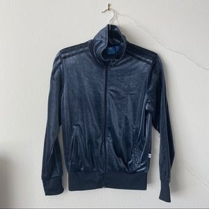Navy Blue Adidas Velour Jacket